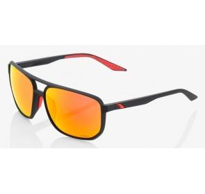 Okulary 100% KONNOR Soft Tact Black - HiPER Red
