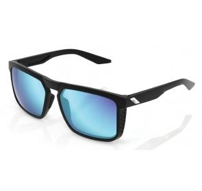 Okulary 100% RENSHAW Matte Black - HiPER Blue