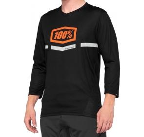 Koszulka męska 100% AIRMATIC 3/4 Sleeve black oran